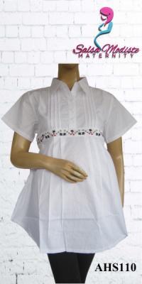 Baju Hamil dan Menyusui Pendek Putih [AHS110]