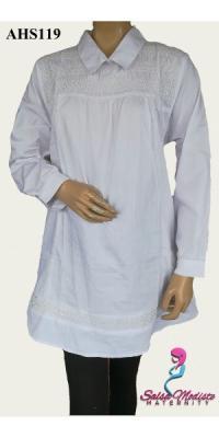 Baju Hamil dan Menyusui Khusus Putih Smoke [AHS119]