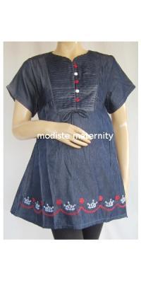 Baju Hamil Denim Flow Pendek [AP916]