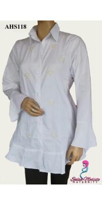 Baju Hamil dan Menyusui Putih Rempel [AHS118]