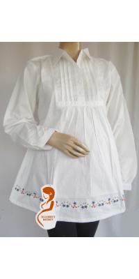 Baju hamil dan menyusui Krah kerja (Broken White) [AP142]