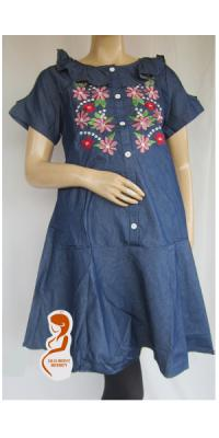 Dress Hamil Denim Bordir [DH883]
