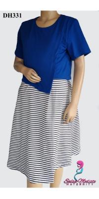 dress hamil menyusui kaos salur [DH331]